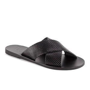 Ancient Greek Sandals black leather Thais slides